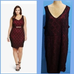 Torrid NWT Red with Black Lace Overlay Dress  20